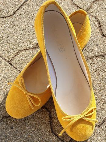 Ballerina Woolline Größe 38 in Gelb aus Leder