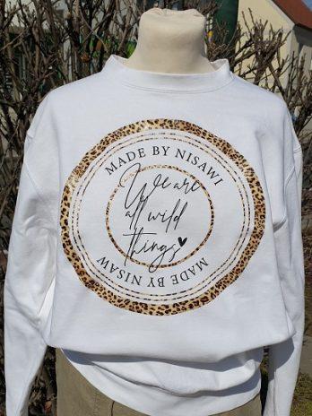 Sweater Nisawi in Weiß/Animal, Größe Medium