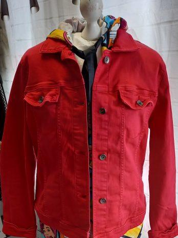 Jeans Jacke Tom Tailor Größe Large in Rot