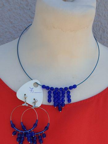 Set Kette & Ohrringe in Blau