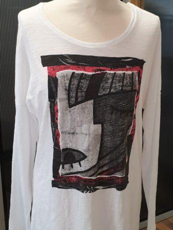 Benetton Shirt Größe Large in Weiß/Schwarz/Rot