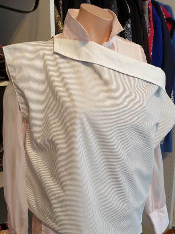 Wende-Pullover Größe Medium in Grau/Weiß