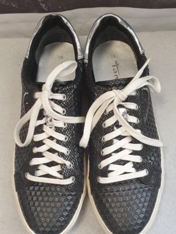 Tamaris Leder Sneaker Größe 39 in Schwarz