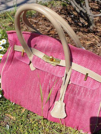 Pinke Tasche aus Leder
