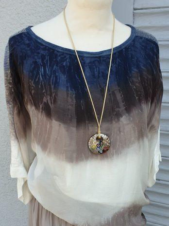 Batik Bluse Größe Medium in Blau/Taupe