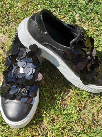 Tosca Blue Leder Sneakers Größe 38 in Schwarz
