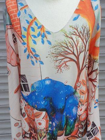 Pullover Größe 42 in Orange/Blau