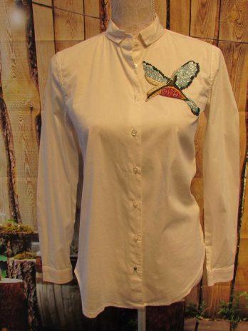 Bluse Jones 34 in Weiß mit Vogel