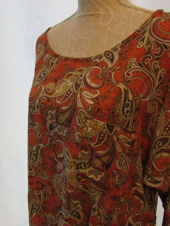 Bluse New Collection 42 in Orange| Gemustert