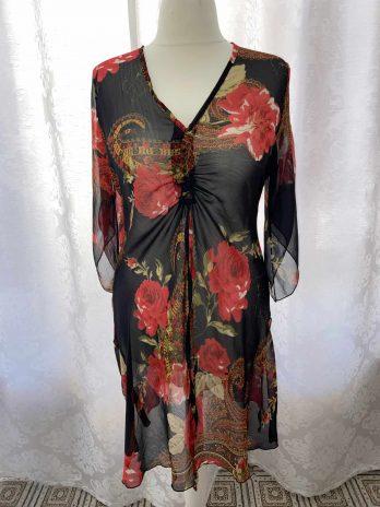 Kleid Heine 38 in Schwarz  Rot