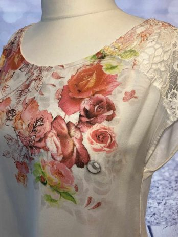 Shirt Jones 40 in Weiß| Floral