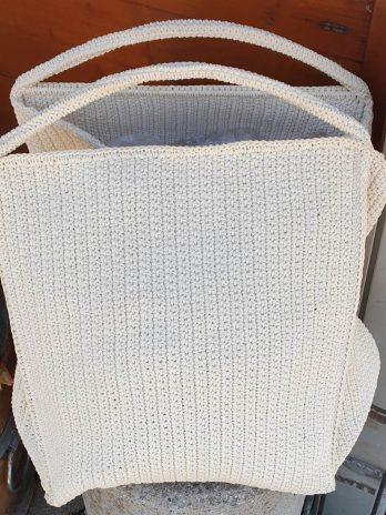 Beige Textil Tasche