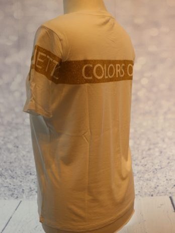 "Shirt Benetton ""Large"" in Weiß|Gold"