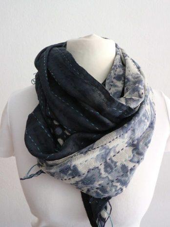 Schal in Blau|Schwarz|Beige