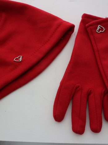 Mütze+Handschuhe in Rot